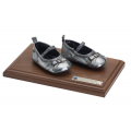 Bronze - Baby Shoes - Classic Walnut base  - Product Code #83