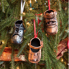 Bronze - Baby Shoes - Xmas Ornament  - Product Code #CH