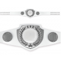 Championship Belt - White Belt with Bright Silver Plate