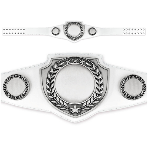 Championship Belt White Belt With Antique Silver Plate