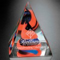 Art Crystal - #7210 Swirl Pyramid - Red/Blue 4""