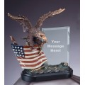 Eagle Awards - Bronze Eagle with Flag and Glass 10""