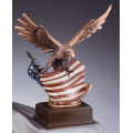 Eagle Awards - Bronze Eagle in Flight with Flag 12""
