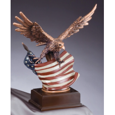 """Eagle Awards - Bronze Eagle in Flight with Flag 12"""""""