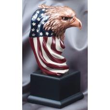 """Eagle Awards - Bronze Eagle Flag Head 9.5"""""""