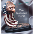 Eagle Awards - Bronze Eagle Flag Head with Glass 7.5""