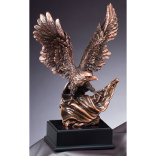 Eagle Awards - Bronze Eagle on Swirled Flag 14""